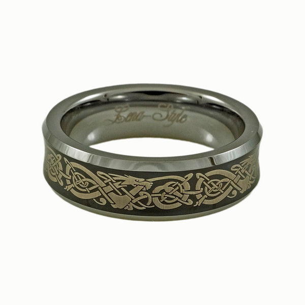 Tungsten Carbide Band with Dragon Pattern Engraving Woman horizontal view