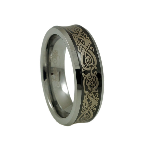 Tungsten Carbide Band with Dragon Pattern Engraving Woman vertical view
