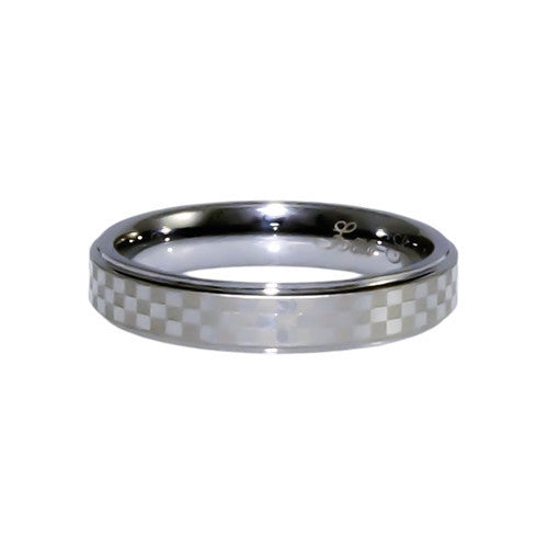 Tungsten Carbide Band, checkered Laser pattern, Woman 4mm horizontal view