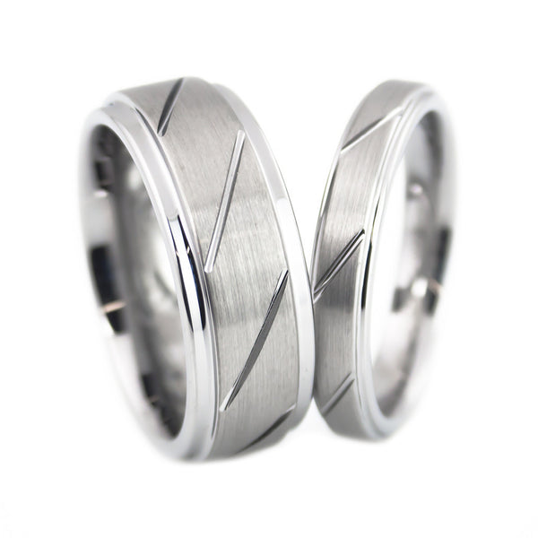 Tungsten Carbide Ring,Brushed Polish, Diagonal Cut Design Woman set