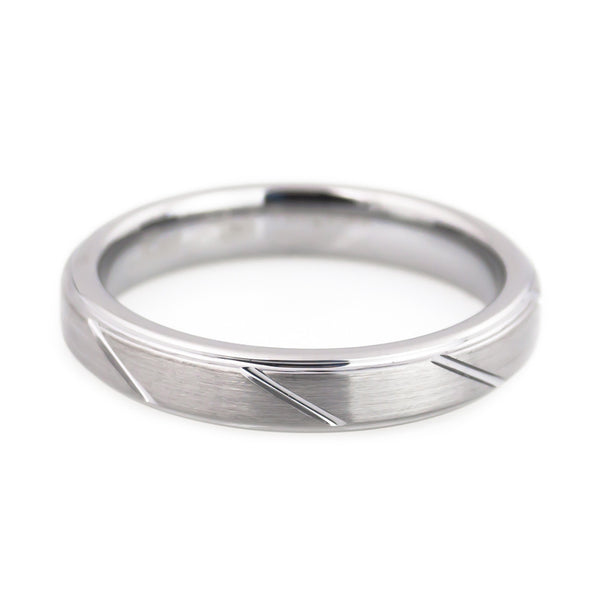 Tungsten Carbide Ring,Brushed Polish, CNC Design Woman horizontal view