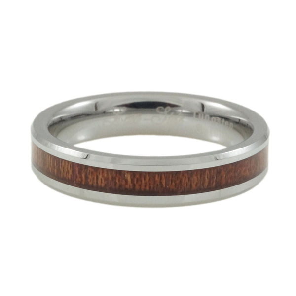 Tungsten ring with KOA wood inlay, Woman 4mm horizontal view