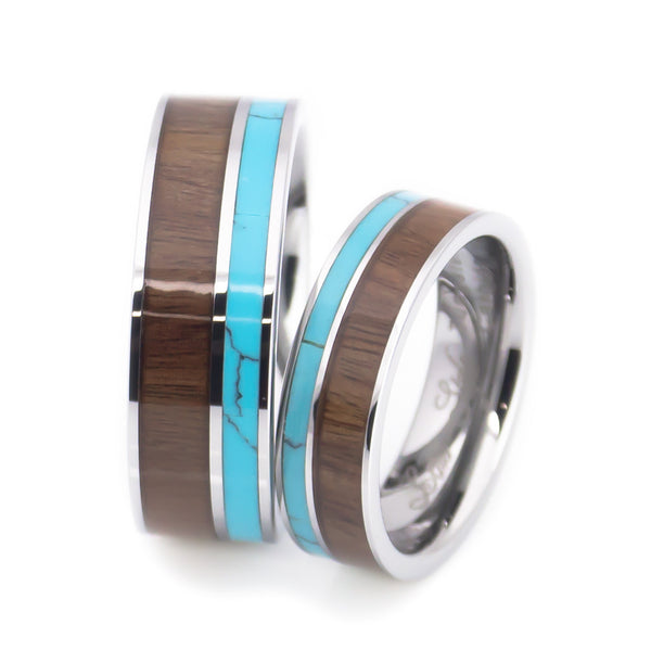 Turquoise and Wood Wedding Band Set