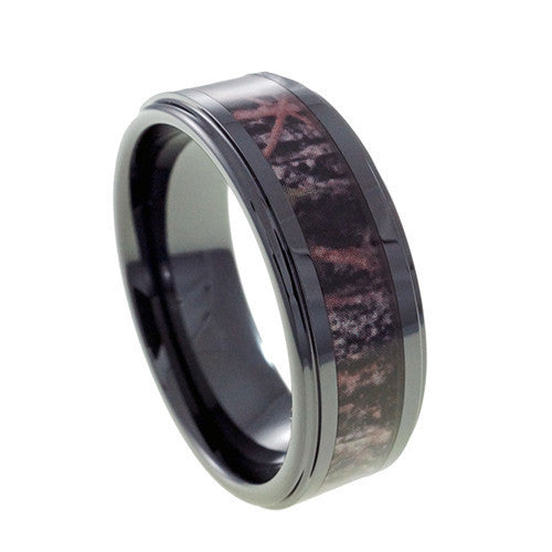 Black Ceramic Camouflage Inlay  wedding band Vertical View