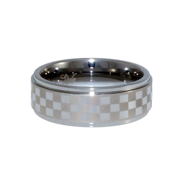 Tungsten Carbide Band, sport chequered patter Laser, Man 8mm horizontal view
