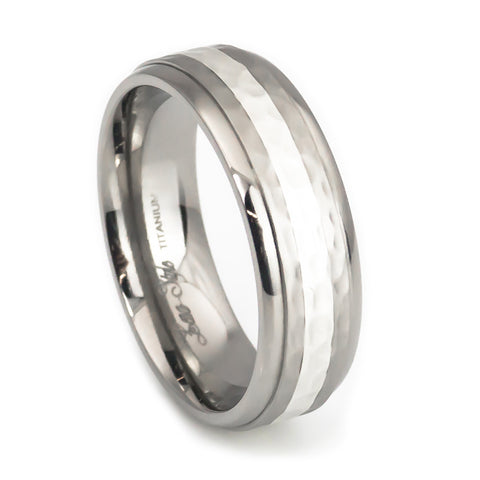 Silver inlay hammered finish titanium wedding band