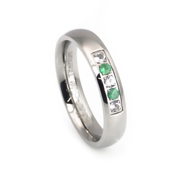 Gem stone emerald titanium wedding band