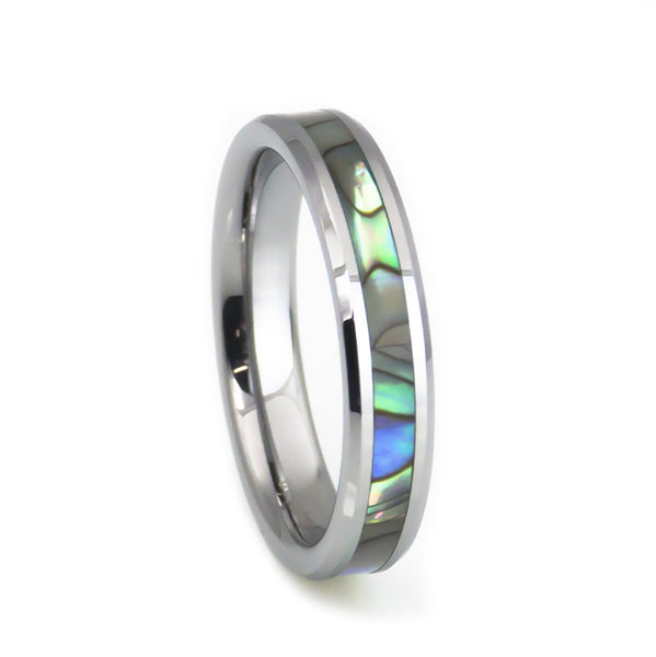 Abalone shell inlay tungsten women's wedding band