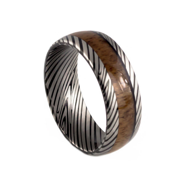 Damascus steel wooden ring