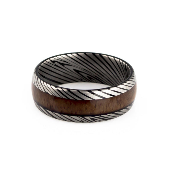 Damascus steel KOA wood inlay tungsten wedding band
