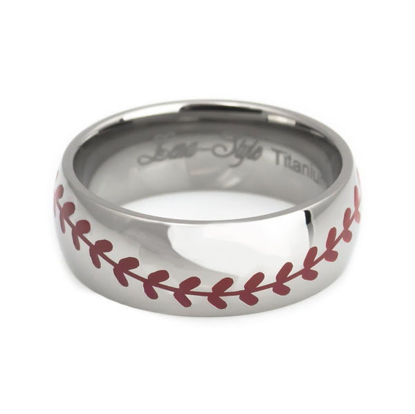 Titanium ring in baseball handcraft