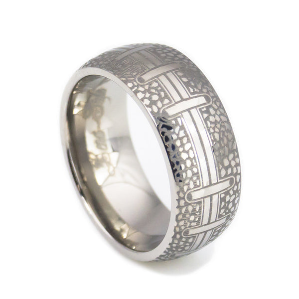 Handcraft football titanium wedding band