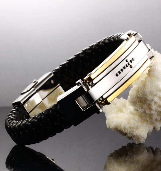 Leather stainless steel Men's ID bracelet