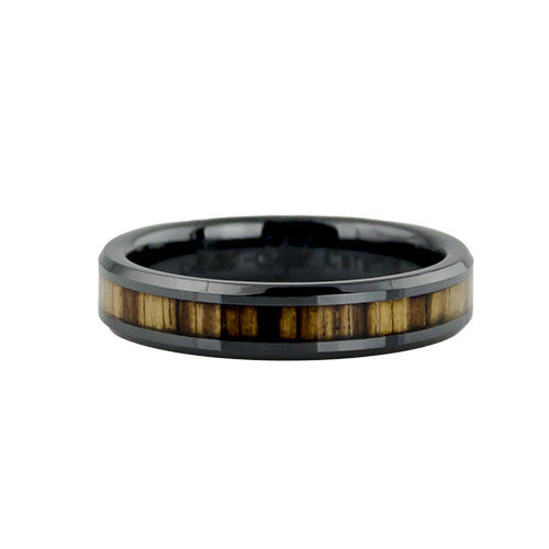 Woman's zebra wood inlay ring
