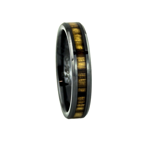 Zebra wood inlay ceramic ring