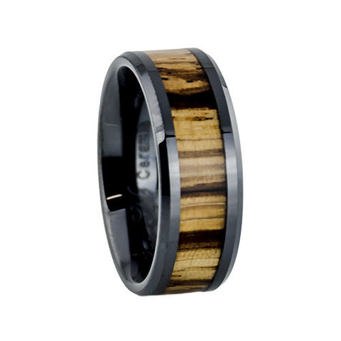 Men's black ceramic ring with zebra wood inlay