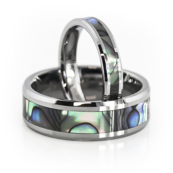 His and Her tungsten wedding band sets with Mother of pearl inlay