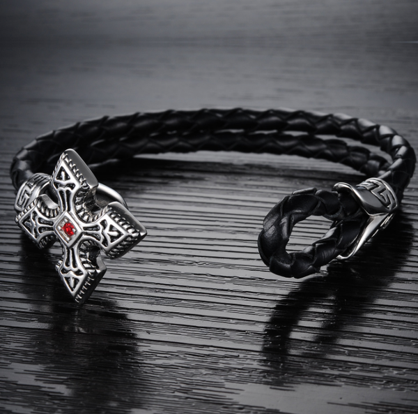 Steel art cross leather bracelet-Wristband