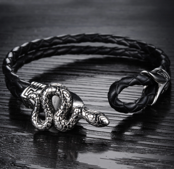 Black leather bracelet snake wristband