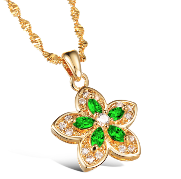 Gold floral emerald necklace