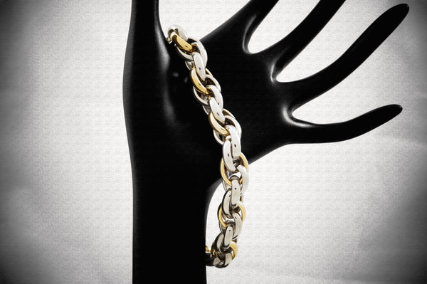 Titanium Wheat Link Yellow Gold Plated Bracelet