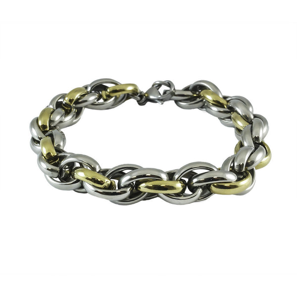 Titanium Wheat Link Yellow Gold Plated Bracelet white background