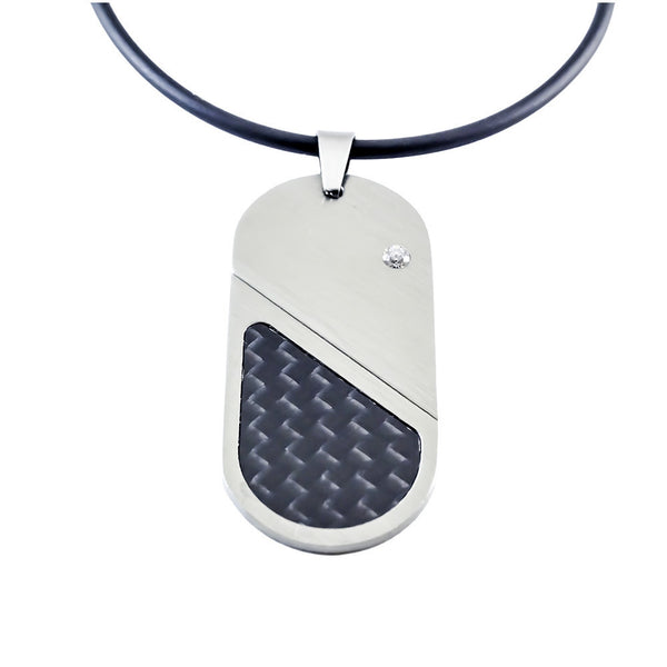 Tungsten Carbon Fiber Pendant and necklaces top view