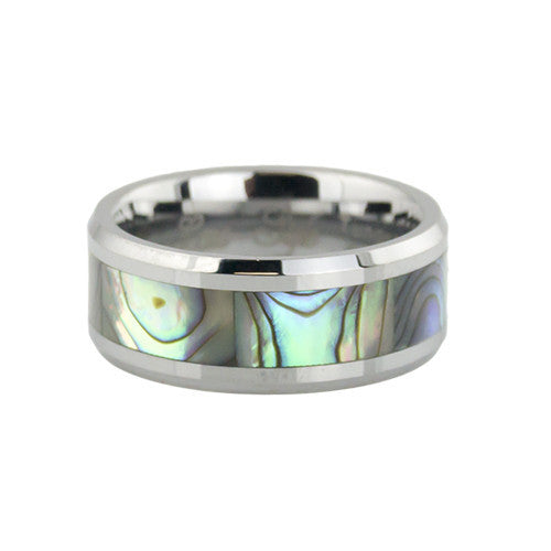 Abalone inlay tungsten wedding bands