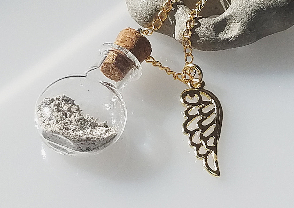 Glass Bottle Keepsake grieving cremation urn with gold Wing Necklace