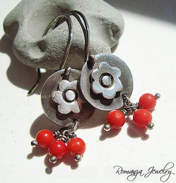 Silver Flower Disc and Coral Bead Earrings