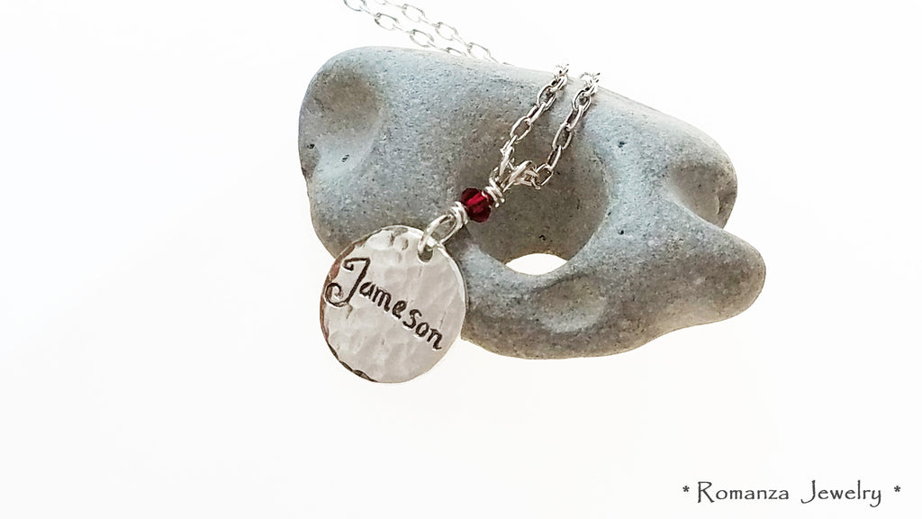 Charm Tag Personalized w Name of Your Choice Birthstone Necklace