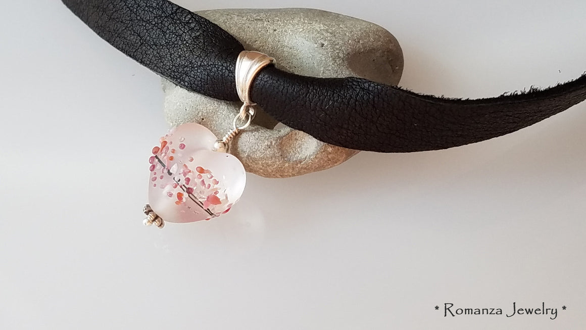 Leather Choker with Frosted Glass Heart bead