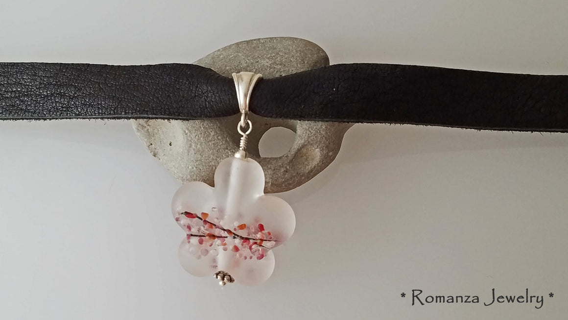 Leather Choker with Pink Frosted Glass Flower bead