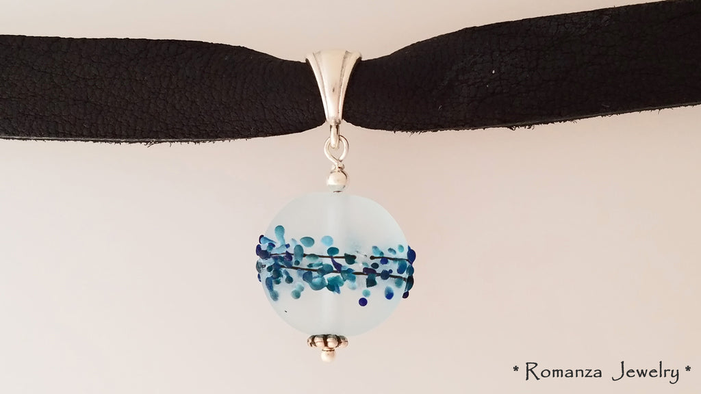 Leather Choker with Blue Frosted Glass Round Disc bead