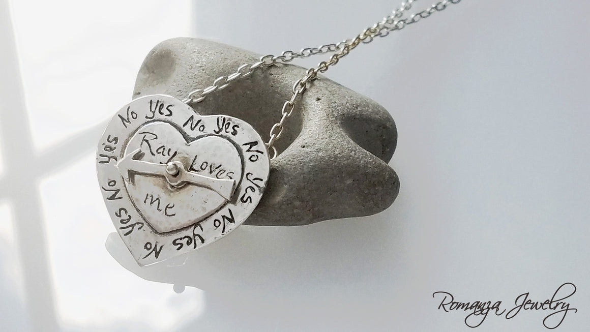 Spinning Arrow Heart He loves me, He loves me not Personalized Love Heart necklace