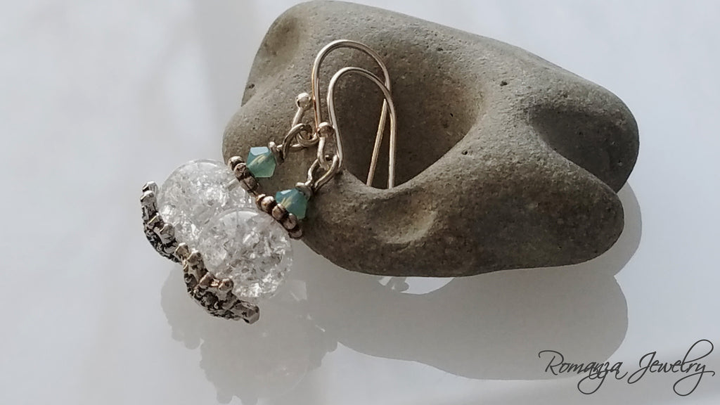 Tiny Antique Glass bead with turquoise swarowski stone Earrings