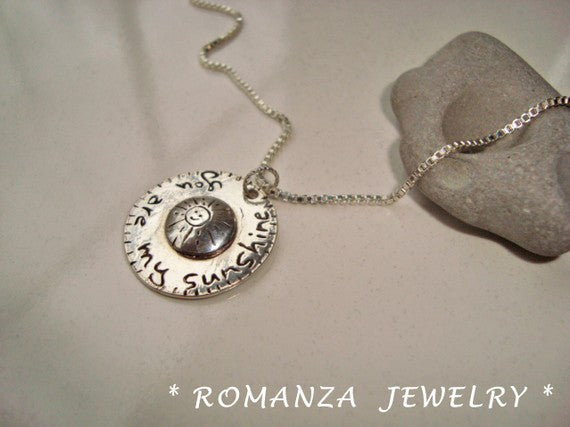 You Are My Sunshine Domed Silver Necklace