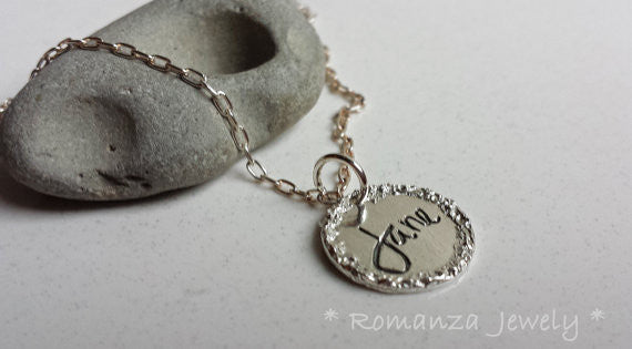 SILVER Charm Tag with Border Hand Engraved and Personalized with Name of Your Choice