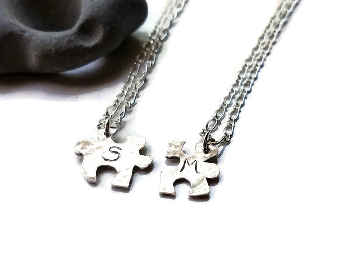 Couples Puzzle Piece Necklace Relationship set