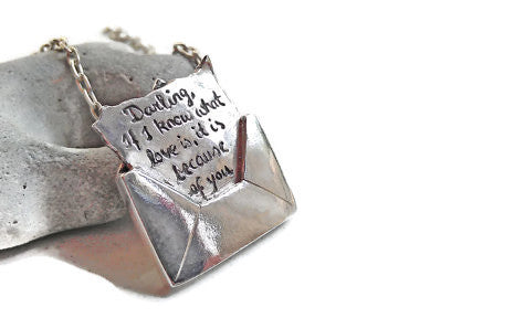 LOVE MESSAGE Letter in an ENVELOPE Personalized with your choice of words Sterling Silver Necklace