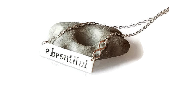 "Hashtag ""Beautiful"" Bar with Infinity Sterling Silver Necklace"