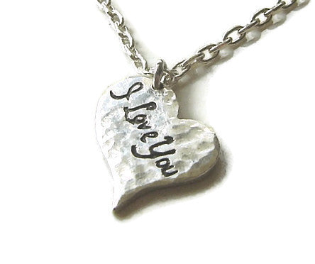 I Love You Silver Heart Necklace