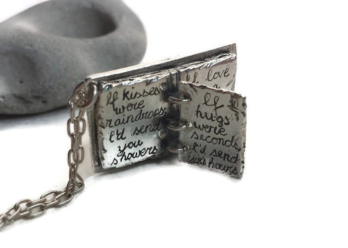 LOVE STORY BOOK personalized necklace with your choice of poem or story