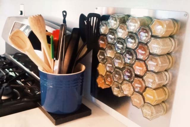 Add a Wall Plate to Store Spices on Your Backsplash