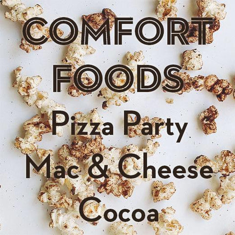 SALE | COMFORT FOODS | 3-Pack Popcorn Seasoning | Pizza Party, Mac & Cheese + Cocoa (20% Off)
