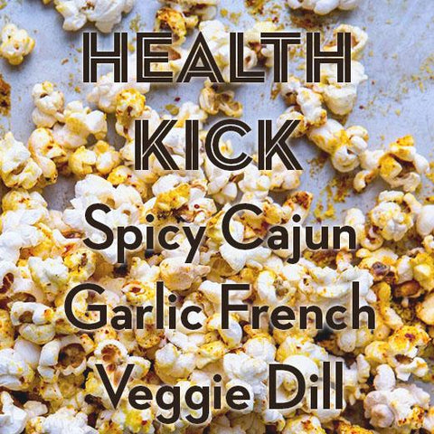 SALE | HEALTH KICK | 3-Pack Popcorn Seasoning | Spicy Cajun, French Herbs + Veggie Dill (20% Off)