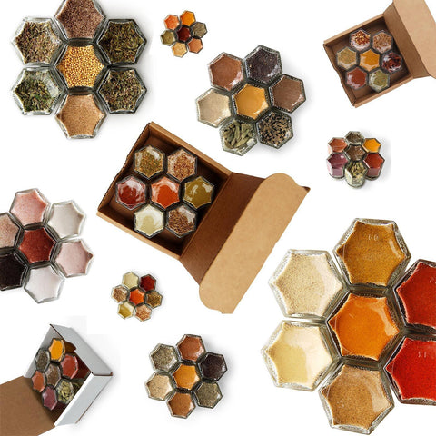 Assortment of magnetic spice rack gift kits