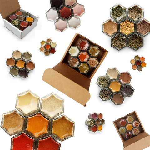 Arrangment of magnetic spice jars being given as gifts