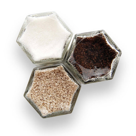 Dessert salts in magnetic spice jars to stick to a fridge