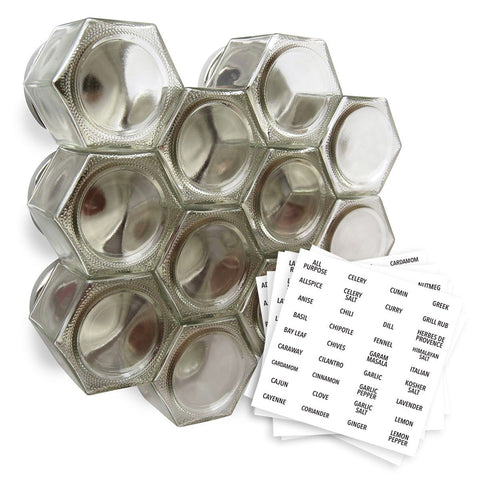 Do it yourself magnetic spice rack with 12 large empty jars and sticker labels